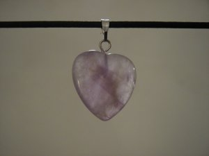 "Unique 3/4"" Amethyst Heart Pendant Necklace Quartz 3579"