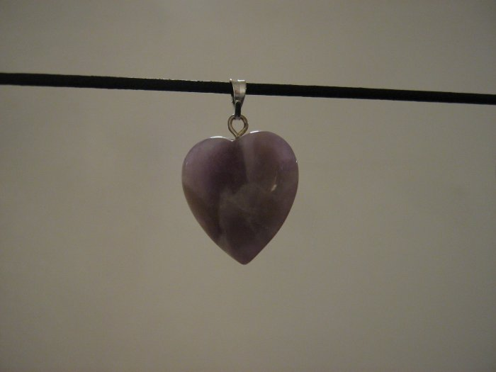 "Unique 3/4"" Amethyst Heart Pendant Necklace Quartz 3581"
