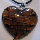 Handmade Dichroic Glass Heart Pendant Amber Brown Gold Foil A4