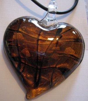 Handmade Amber Heart Pendant Dichroic Glass Gold Foil A6