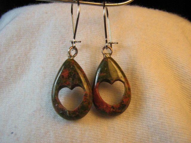 Green & Pink Unakite Teardrop Earrings with Heart Cutout Stone Granite NSE9