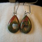 Green & Pink Unakite Teardrop Earrings with Heart Cutout Stone Granite NSE10