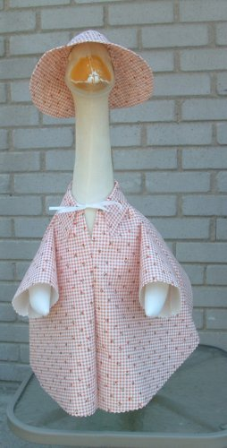 Spring Red Gingham Vinyl Raincoat Lawn Goose Clothes Outfit