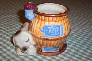 Occupied Japan Pot Belly Stove Planter w/ Dog