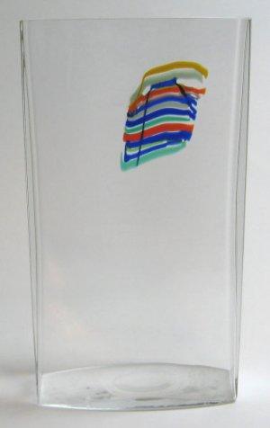 Bertil Vallien Rectangular Rainbow Vase Kosta Boda