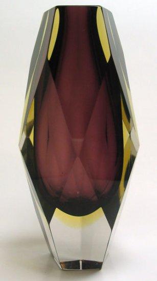 Mandruzzato Faceted 2 Layer Sommerso Vase Murano