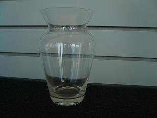 Clear Glass Angled Mouth Vase