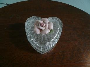 Glass Jewelry Box with Pink Rose