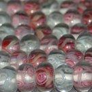 20 Lampwork rose & swirl Pink Rose White Mix beads