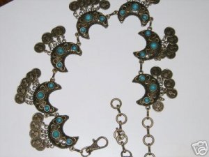 Belly Dance Bronze Link Concho Belt with Turquoise & Moon Shape
