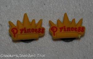 Set of 2 Disney Princess Crown Croc Shoe Charms