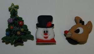 Set of 3 Christmas Croc Shoe Charms, Christmas Tree, Rudolph and Frosty the Snowman