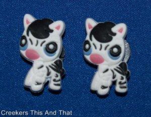 Set of 2 Littlest Pet Shop Baby Zebra Croc Shoe Charms