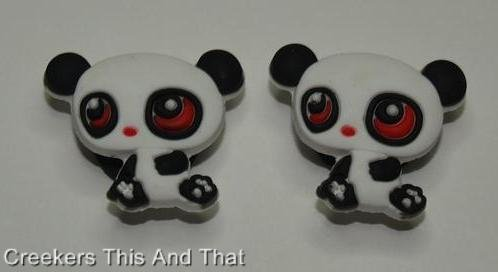 Set of 2 Littlest Pet Shop Panda Croc Shoe Charms