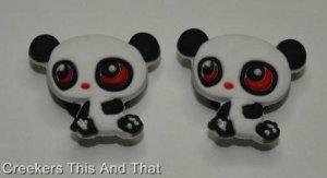Set of 2 Littlest Pet Shop Panda Croc Shoe Charms
