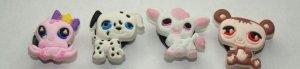Set of 4 Littlest Pet Shop Croc Shoe Charms Octopus, Dalmation, Cow and Bear