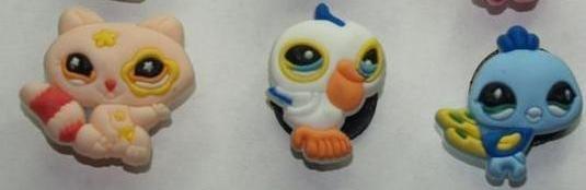 Set of 3 Littlest Pet Shop Croc Shoe Charms Racoon, Pelican and Bluebird