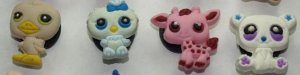 Set of 4 Littlest Pet Shop Croc Shoe Charms Duck, Owl, Giraffe, and Polar Bear
