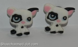 Set of 2 Littlest Pet Shop Black and White Pig Croc Shoe Charms