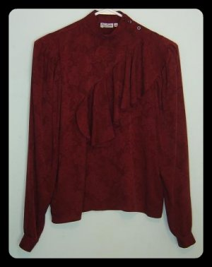 ALAN AUSTIN Red Silk Floral Ruffled Blouse Size 38 Small