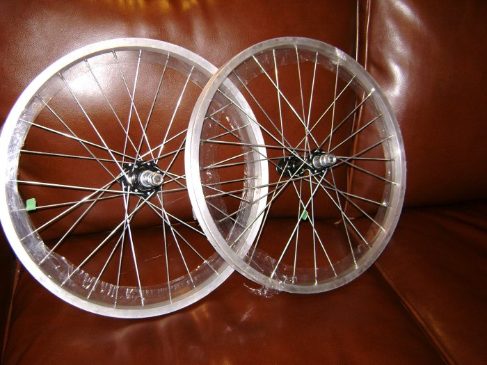 """Front and Rear Wheels.  20""""  alloy silver color rim, 28 spokes, for 5-6-speed...S&H is $17.95"""