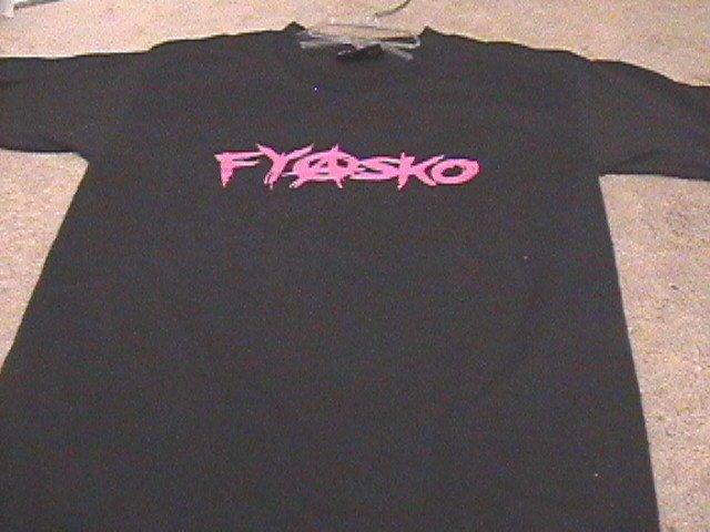 Ladies Urban Outfitters FYASKO Black/Pink T-Shirt S