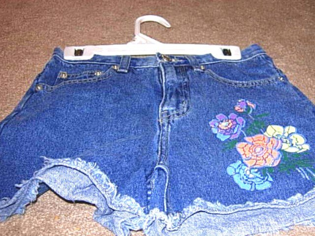 Girls KRU Denim Shorts with Painted Flowers 10