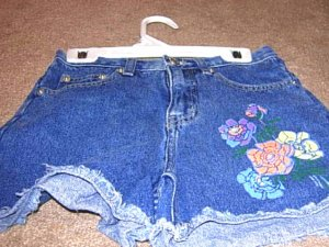 Girls KRU Denim Shorts with Painted Flowers 10