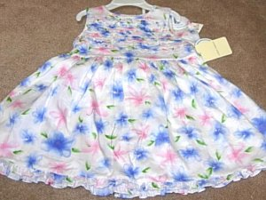Girls Boutique LAURA ASHLEY White Floral Dress 18mo NWT