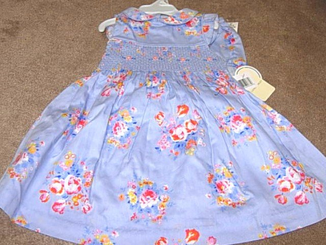 Girls Boutique LAURA ASHLEY Blue Floral Dress 18mo NWT