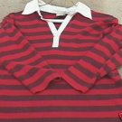 Ladies OLD NAVY Red & Purple Striped 3/4 Sleeve Top S
