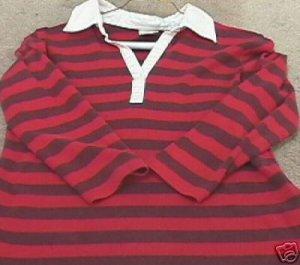 Ladies OLD NAVY Red & Purple Striped 3/4 Sleeve Top S