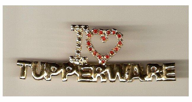 "Rare 3"" I love Tupperware Consultant Manager Costume Jewelry Pin"