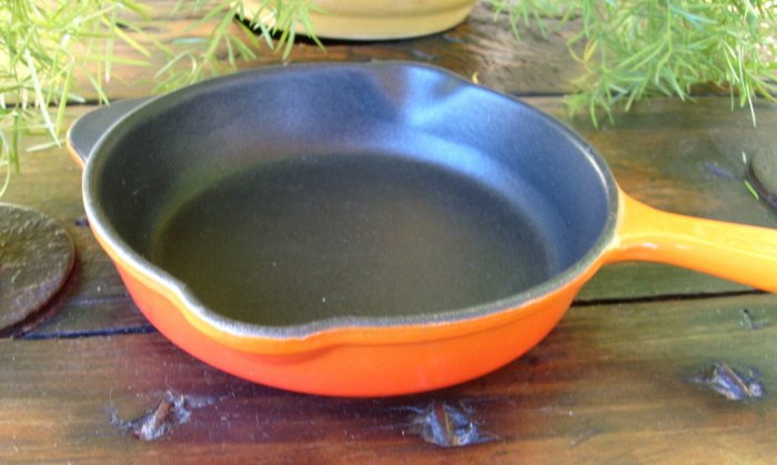 Vintage Cousances Le Creuset Orange Flame 16 Skillet Frying Omelet Pan Baker Cast Iron