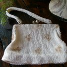 Vintage Lumured USA Made Metallic Micro Bead Beaded Purse Clutch Evening Bag Cream Gold