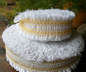 Vintage Girls Dress Lace Trim Pleated White Gold Yellow 1940s 1950s 1960s Whole Bolts Yards