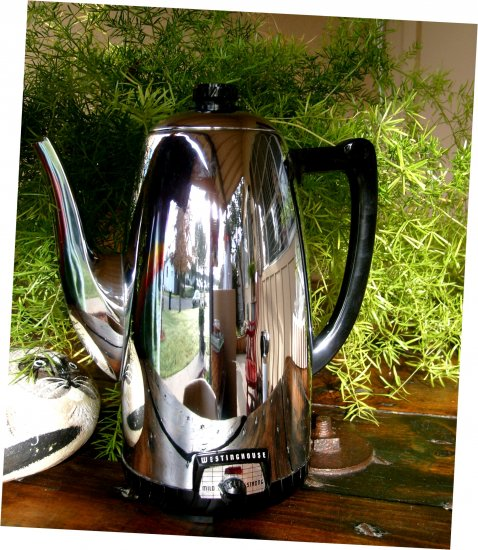 New Old Stock Vintage Rare 1940s Westinghouse Electric Chrome Deco Mid Century Coffee Pot Percolator
