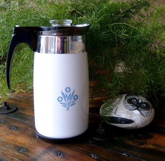 Vintage 70 10 Cup Unused Old Stock NOS Corning Corningware Cornflower Electric Coffee Pot Percolator