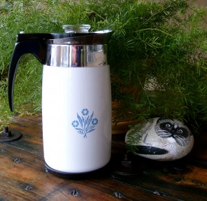Vintage 70 10 Cup Unused Old Stock NOS Corning Corningware Cornflower Electric Coffee Pot Percolator
