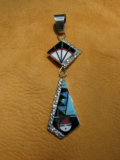Turquoise Inlaid Sterling Silver Sunface Pendant