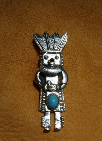 Turquoise Sterling Silver Kachina Pendant