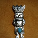 Turquoise Sterling Silver Kachina Pendant