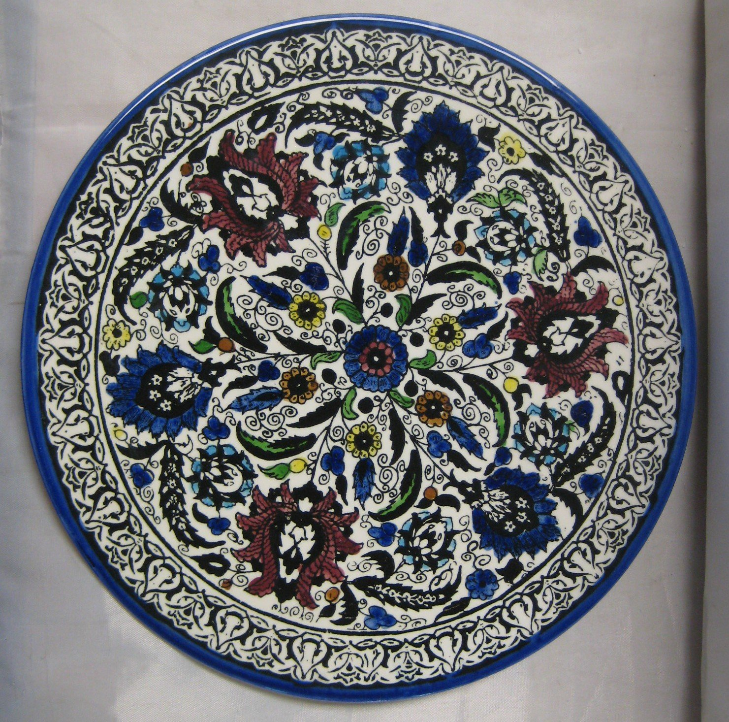 Majolica Large Hand Painted Tile Plate Ceramic Wall Hanging