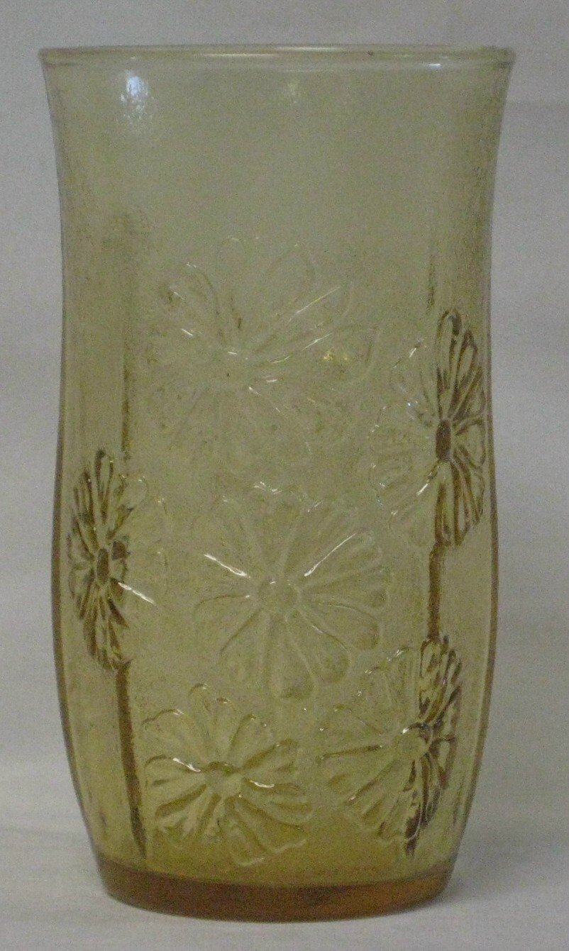 Anchor Hocking Springsong Honey Gold Flat Ice Tea Tumbler