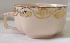 Vintage Gold Krest China Pink Teacup Gold Trim