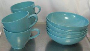 Prolon Melmac Melamine Cups & Bowls Turquoise Color