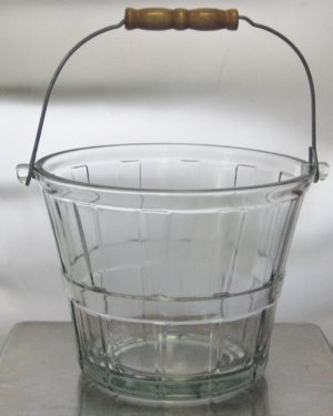 Anchor Hocking Glass Apple Basket Ice Bucket with Wire Bail Handle