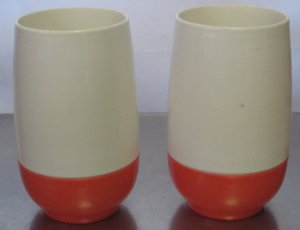 Vintage Thermos Insulated Ware Drinking Cups Mugs Orange & White