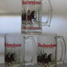 3 Budweiser Clydesdales Beer Mugs Dated 1992