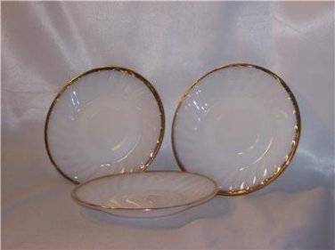 Fire-King Swirl pattern Golden Anniversary 22k Trimmed Saucers